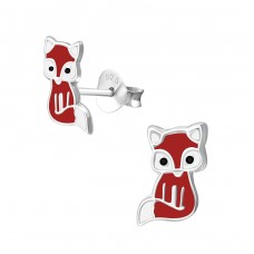 Fox - 925 Sterling Silver Colorful ear studs for kids A4S33538