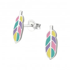 Feather - 925 Sterling Silver Colorful ear studs for kids A4S33540