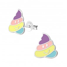 Whip Cream - 925 Sterling Silver Colorful ear studs for kids A4S33541