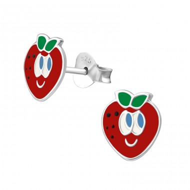 Strawberry - 925 Sterling Silver Colorful ear studs for kids A4S33549