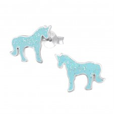Unicorn - 925 Sterling Silver Colorful ear studs for kids A4S33558