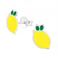 Lemon - 925 Sterling Silver Colorful ear studs for kids A4S33566
