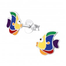 Fish - 925 Sterling Silver Colorful ear studs for kids A4S33585