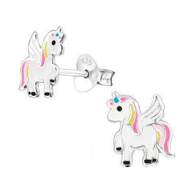 Unicorn - 925 Sterling Silver Colorful ear studs for kids A4S33589