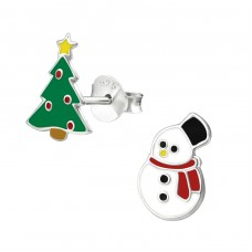 Christmas Tree And Snowman - 925 Sterling Silver Colorful ear studs for kids A4S33593