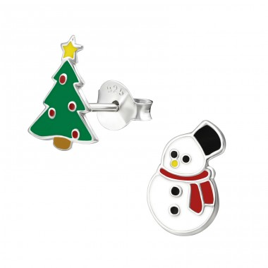 Christmas Tree And Snowman - 925 Sterling Silver Ear studs with enamel colors A4S33593