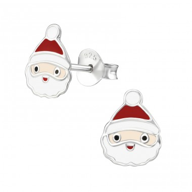 Santa Claus - 925 Sterling Silver Ear studs with enamel colors A4S33595