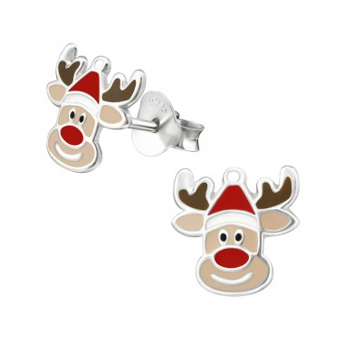 Reindeer - 925 Sterling Silver Colorful ear studs for kids A4S33597