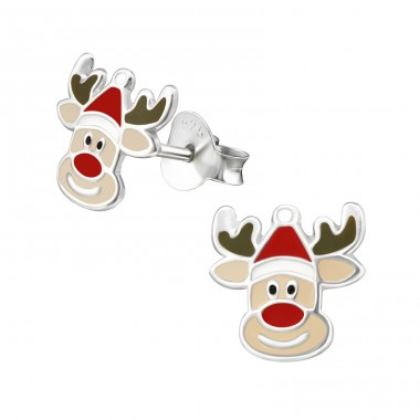 Reindeer - 925 Sterling Silver Ear studs with enamel colors A4S33597
