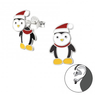 Penguin - 925 Sterling Silver Colorful ear studs for kids A4S33598