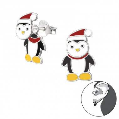 Penguin - 925 Sterling Silver Ear studs with enamel colors A4S33598