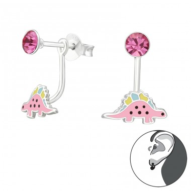 Dinosaur - 925 Sterling Silver Ear studs with enamel colors A4S33629