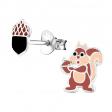 Acorn & Chipmunk - 925 Sterling Silver Colorful ear studs for kids A4S33951