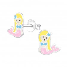 Mermaid - 925 Sterling Silver Colorful ear studs for kids A4S34015