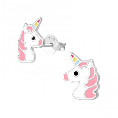 Unicorn - 925 Sterling Silver Ear studs with enamel colors A4S34358