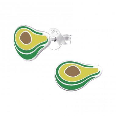 Avocado - 925 Sterling Silver Colorful ear studs for kids A4S34572