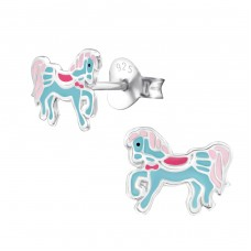 Pony - 925 Sterling Silver Colorful ear studs for kids A4S34622