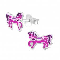 Pony - 925 Sterling Silver Colorful ear studs for kids A4S34623