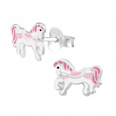 Pony - 925 Sterling Silver Colorful ear studs for kids A4S34624