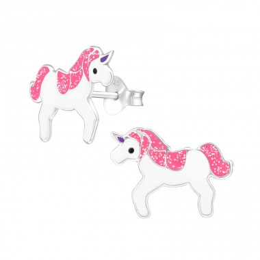 Unicorn - 925 Sterling Silver Ear studs with enamel colors A4S34780