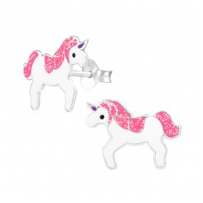 Unicorn - 925 Sterling Silver Colorful ear studs for kids A4S34780