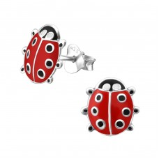 Ladybug - 925 Sterling Silver Colorful ear studs for kids A4S3498