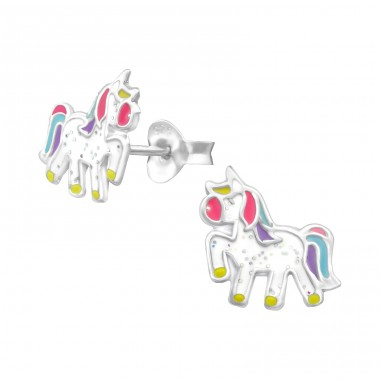 Unicorn - 925 Sterling Silver Colorful ear studs for kids A4S35140
