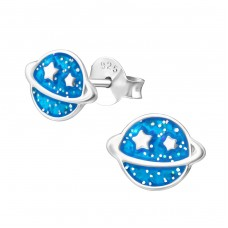 Saturn Planet - 925 Sterling Silver Colorful ear studs for kids A4S35142