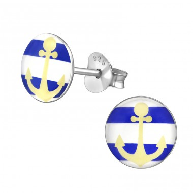 Anchor - 925 Sterling Silver Colorful ear studs for kids A4S35171