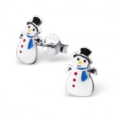 Snowman - 925 Sterling Silver Colorful ear studs for kids A4S3534