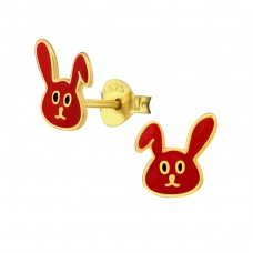 Rabbit - 925 Sterling Silver Colorful ear studs for kids A4S35391