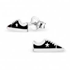 Sneaker - 925 Sterling Silver Colorful ear studs for kids A4S3540