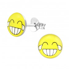 Laugh Face - 925 Sterling Silver Colorful ear studs for kids A4S35422