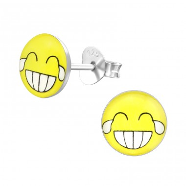 Laugh Face - 925 Sterling Silver Ear studs with enamel colors A4S35422
