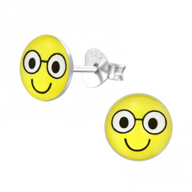Smile Face - 925 Sterling Silver Colorful ear studs for kids A4S35423