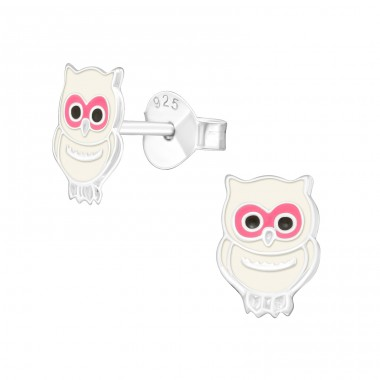 Owl - 925 Sterling Silver Ear studs with enamel colors A4S35644