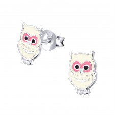 Owl - 925 Sterling Silver Colorful ear studs for kids A4S35644