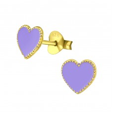 Heart - 925 Sterling Silver Colorful ear studs for kids A4S35738