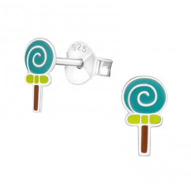 Lollipop - 925 Sterling Silver Colorful ear studs for kids A4S35791