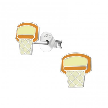 Basketball Hoop - 925 Sterling Silver Colorful earrings for kids A4S35942