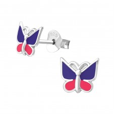 Butterfly - 925 Sterling Silver Colorful ear studs for kids A4S35947