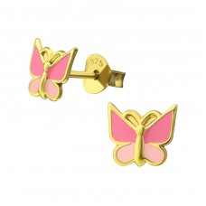 Butterfly - 925 Sterling Silver Colorful ear studs for kids A4S35948