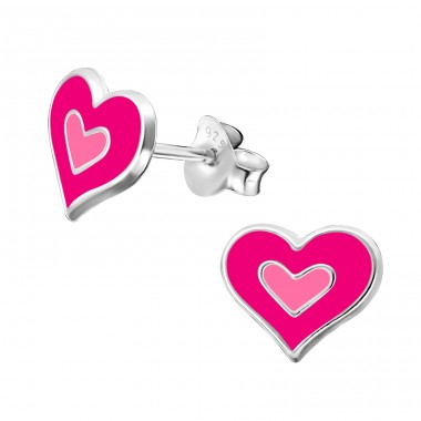 Heart - 925 Sterling Silver Colorful earrings for kids A4S36545