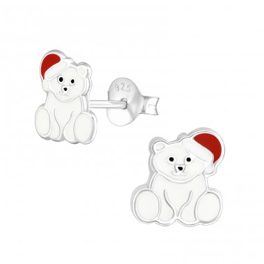 Polar Bear - 925 Sterling Silver Colorful ear studs for kids A4S36568