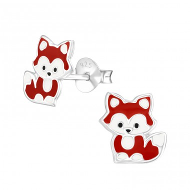 Fox - 925 Sterling Silver Ear studs with enamel colors A4S36569