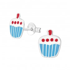 Cupcake - 925 Sterling Silver Colorful ear studs for kids A4S3674