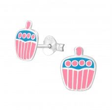 Cupcake - 925 Sterling Silver Colorful ear studs for kids A4S3675