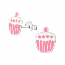Cupcake - 925 Sterling Silver Colorful ear studs for kids A4S3676