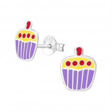 Cupcake - 925 Sterling Silver Colorful ear studs for kids A4S3677