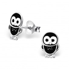 Owl - 925 Sterling Silver Colorful ear studs for kids A4S3679